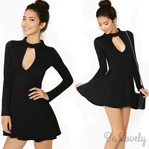 P315 Czarna Rozkloszowana Sukienka Dlugi Rekaw M 4654713300 Oficjalne Archiwum Allegro Womens Skater Dress Party Dress Dresses