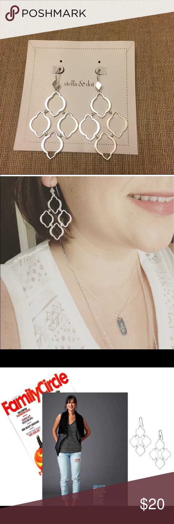 """Stella & Dot Arabesque Chandelier Earrings Beautiful hand-brushed arabesque link chandeliers hand-modeled in the Stella & Dot NY design studio.  Silver plating.  Sterling silver earwire.  2 1/2"""" drop length.  Featherweight. IN NEW CONDITION Stella & Dot Jewelry Earrings"""