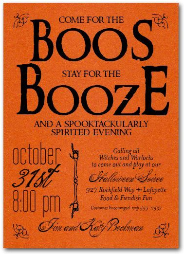 Boos and Booze Halloween Party Invitations are printed on shimmery orange paper and come with matching envelopes Perfect for Halloween cocktail party invitations or Hallo...