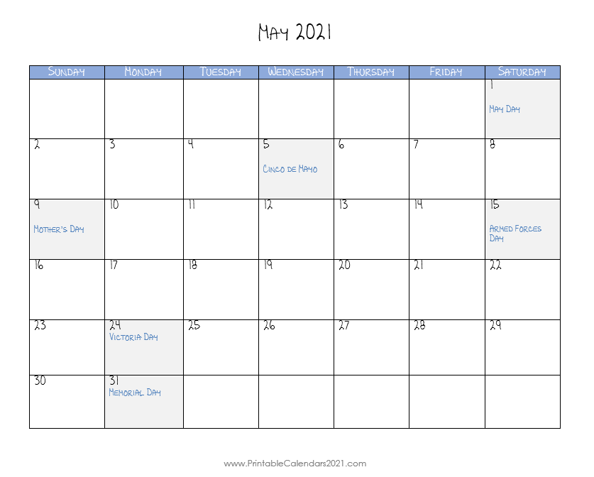 Printable Calendar 2021 May In 2020 Printable Calendar Calendar Calendar Printables