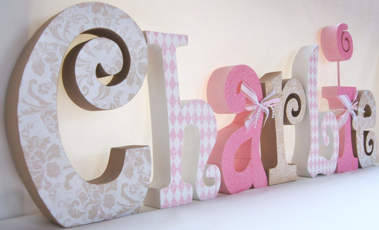 Baby room decor decorative name letters crazy craft for Decorative letters for kids room