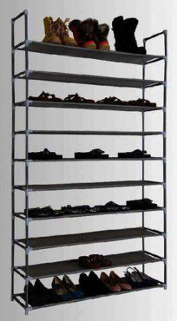 Range Chaussures Pour 50 Paires De Chaussures 100x29x175cm Xxl Combinaison Elegante De L Acier Et Etoffe Amazon Fr Cuisi Headboard Wall Shoe Rack Headboard