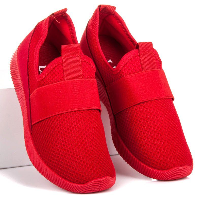 Czerwone Wsuwane buty sportowe   Tenisówki damskie   Buty