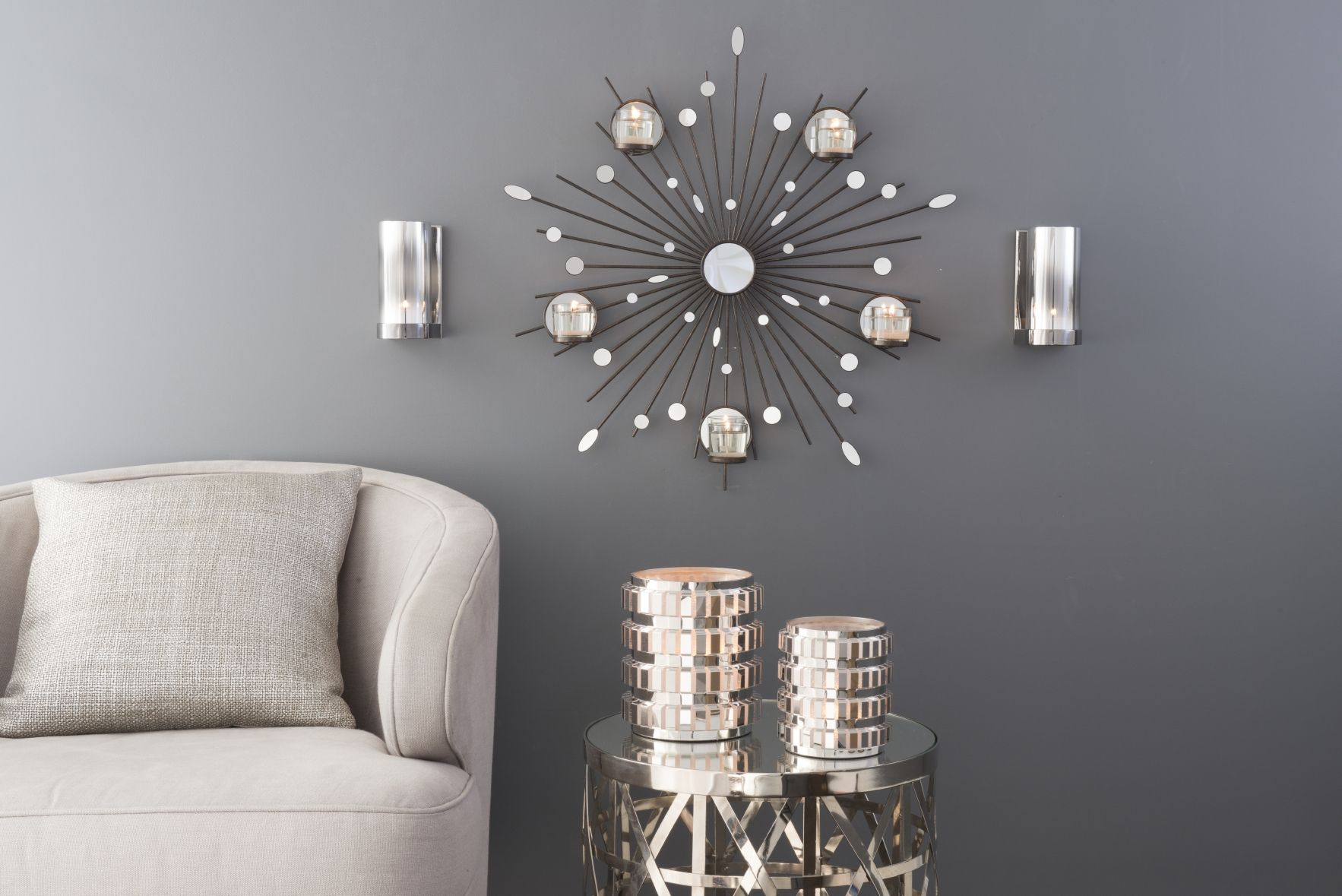 Reflective Tealight Sconce Pair and Starbust Wall Sconce ...