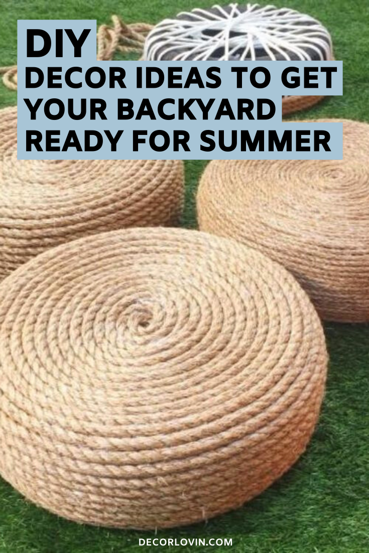 DIY Outdoor Decor To Spruce Up Your Backyard is part of Diy outdoor decor, Outdoor patio diy, Outdoor decor backyard, Outdoor decor, Outdoor barbeque, Backyard - Get your yard ready for summer with these DIY outdoor decor ideas  These DIY projects will revamp your backyard and leave your neighbors jealous