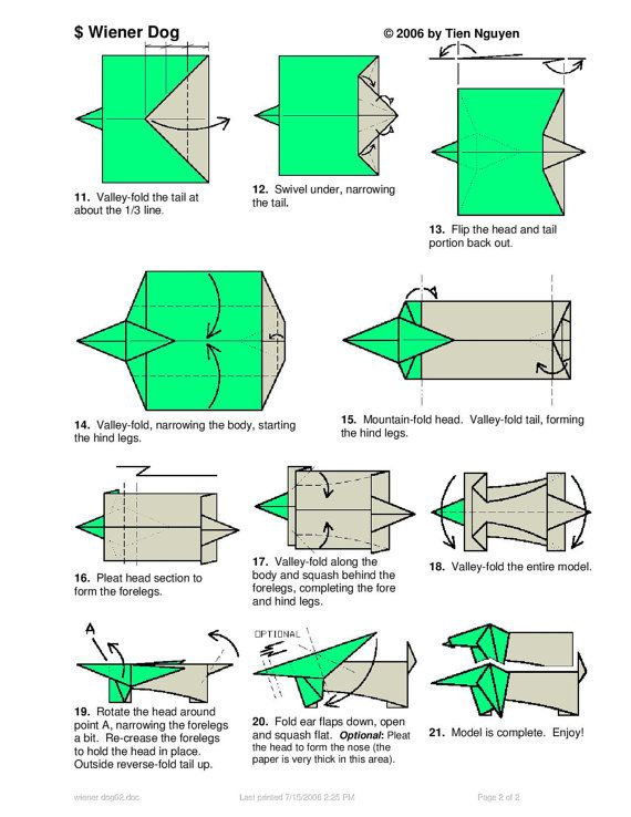dachshund dog diagram 2 of 2 money origami origami