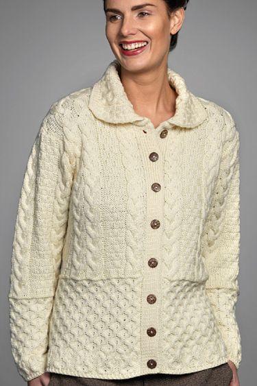 Carraig Donn Irish Aran Wool Sweater Womens Cable Knit Buttoned ...