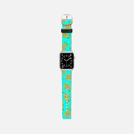 Casetify Apple Watch Band (42mm) Saffiano Leather Watch Band - Pineapple Aqua by Amaya  @casetify #casetifyartist #casetifyart #art #watchband #fashion #fashionblog #fashionista #accessories #pineapples #tropical #botanical