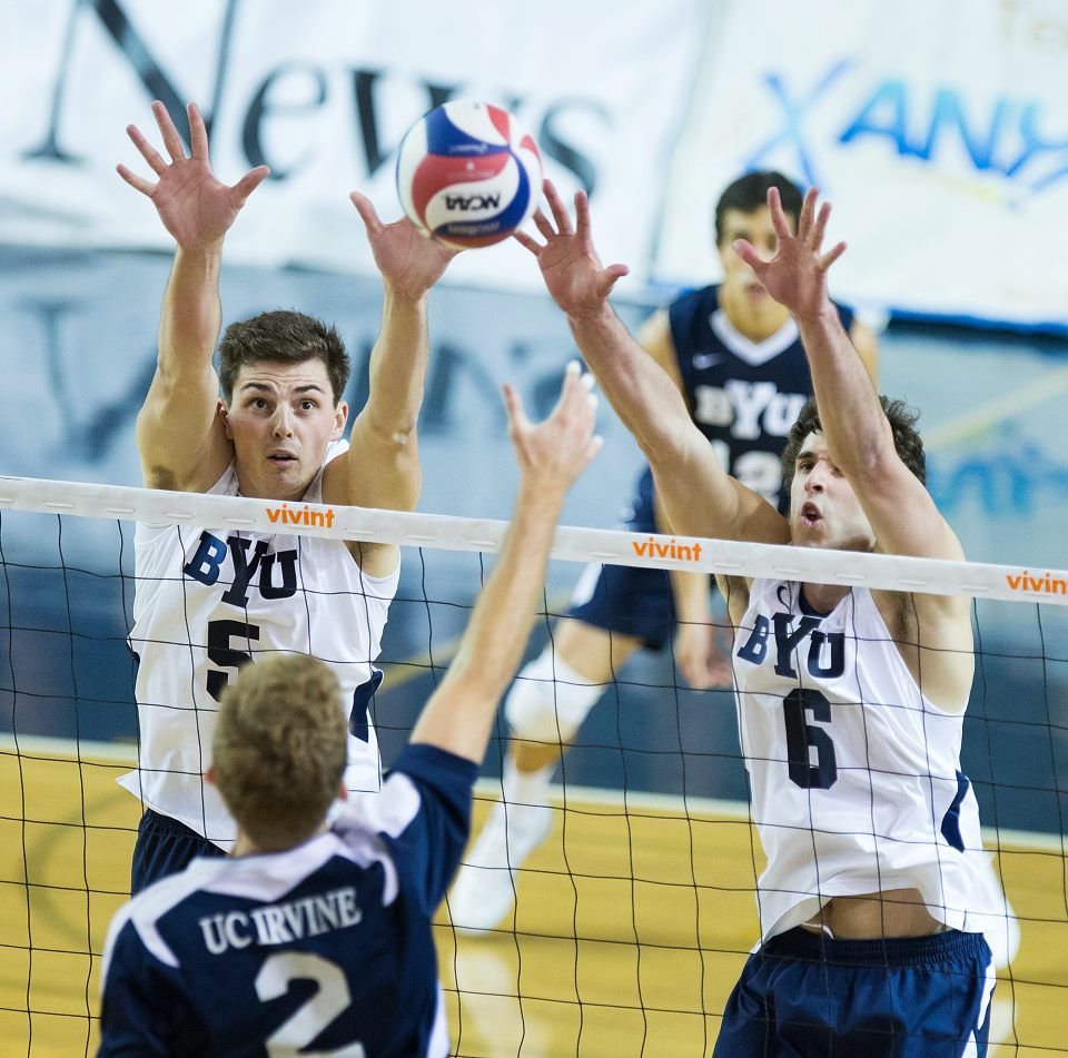 Rusty Lavaja Josue Rivera 3 Byu Defeats 1 Uc Irvine 3 1 At Byu S Smith Fieldhouse Irvine Byu Mens Volleyball