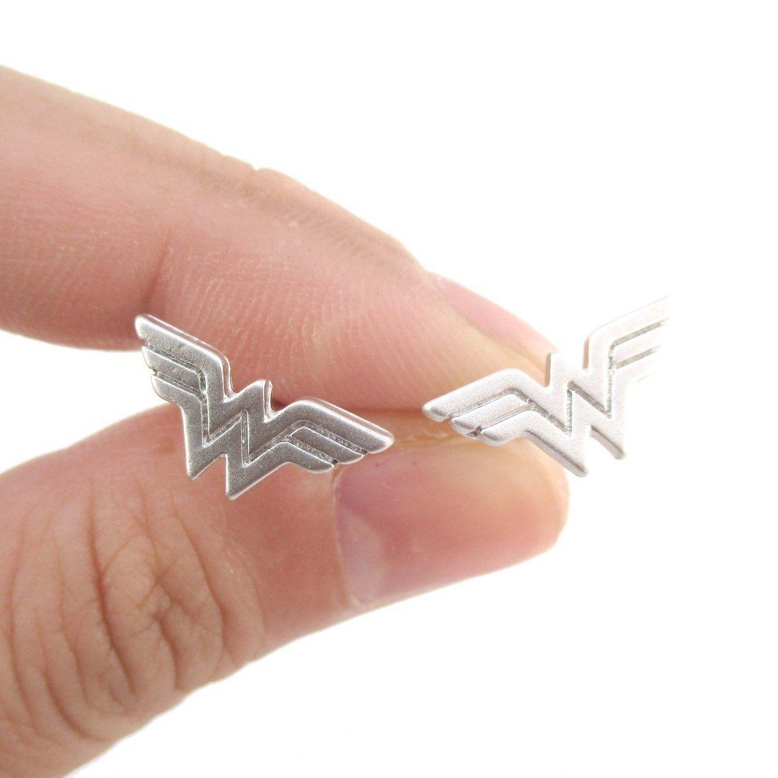 4db931e1d DC Heroes Wonder Woman Logo Shaped Stud Earrings in Silver | Allergy Free