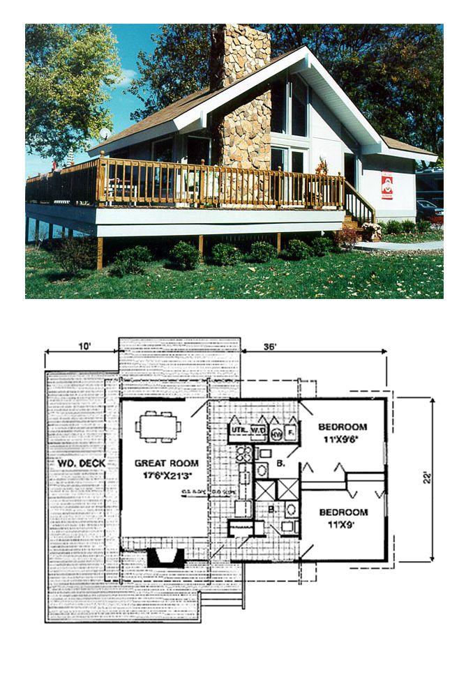 Cabin Style House Plan 94307 With 2 Bed 2 Bath Beach House Plans Craftsman Style House Plans House Plans