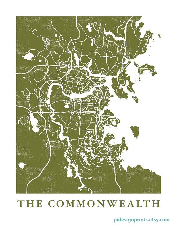 photograph relating to Fallout 4 Printable Map referred to as Fallout 4 The Commonwealth Map Print through Pi Style Prints