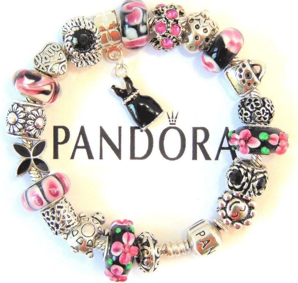 765e4edc624 Authentic Pandora Sterling Silver Bracelet with European Charms Pink Love   PANDORA  Charm