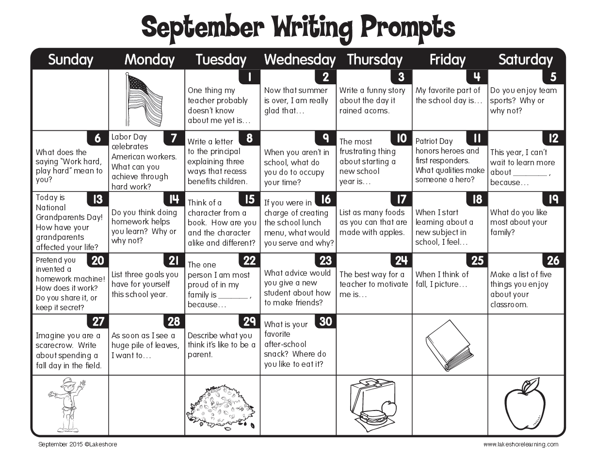 September Writing Prompts From Lakeshore Learning