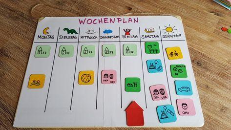 Wochenplaner mit Magneten für Kinder basteln - dorfmama.de