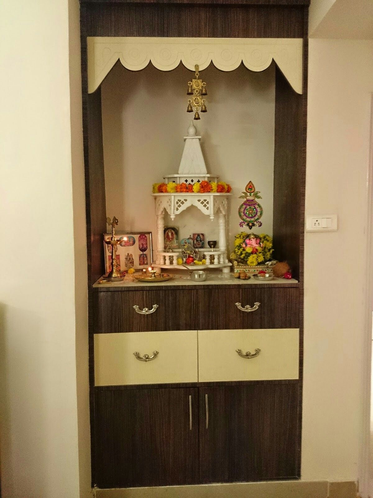 Home interior elevation small pooja room  hindu altar  pinterest  room puja room and