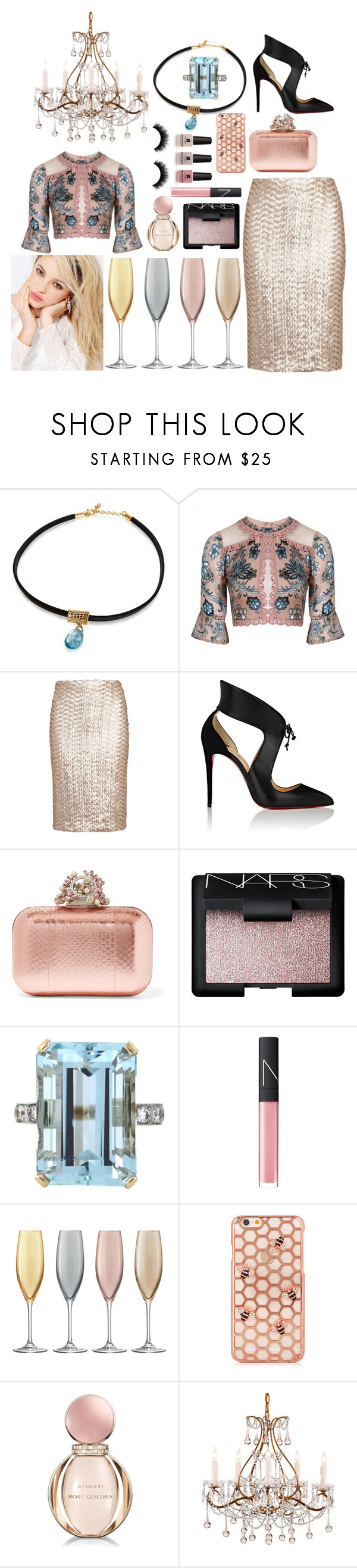 """Pink & Some Blue"" by pulseofthematter ❤ liked on Polyvore featuring For Love & Lemons, Alice + Olivia, Christian Louboutin, Jimmy Choo, NARS Cosmetics, LSA International, Bulgari, Victoria's Secret and Silvana"