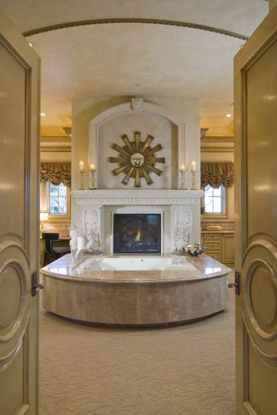 ❥ fireplace in the bath