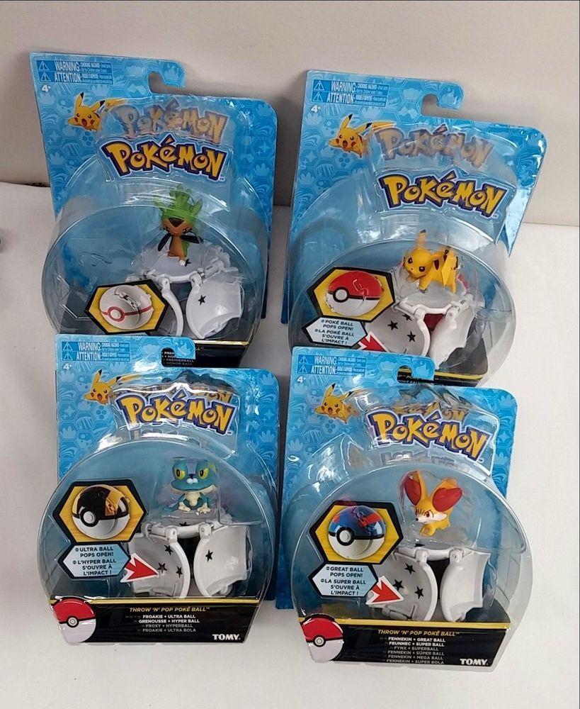 TOMY Froakie Pikachu Chespin /& Fennekin POKEMON Throw N/' Pop Poke Ball 4