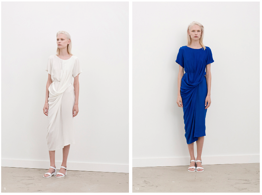 #GARYBIGENI WINDSOR Short sleeved twist front dress. Available in marshmallow, limoges blue & black / Fabric: Silk Crepe. For more information on stockists & availability, please visit: garybigeni.com
