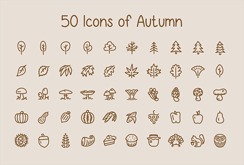 Freebie: Icons Of Autumn (50 Icons, EPS) designed by Nick Botner