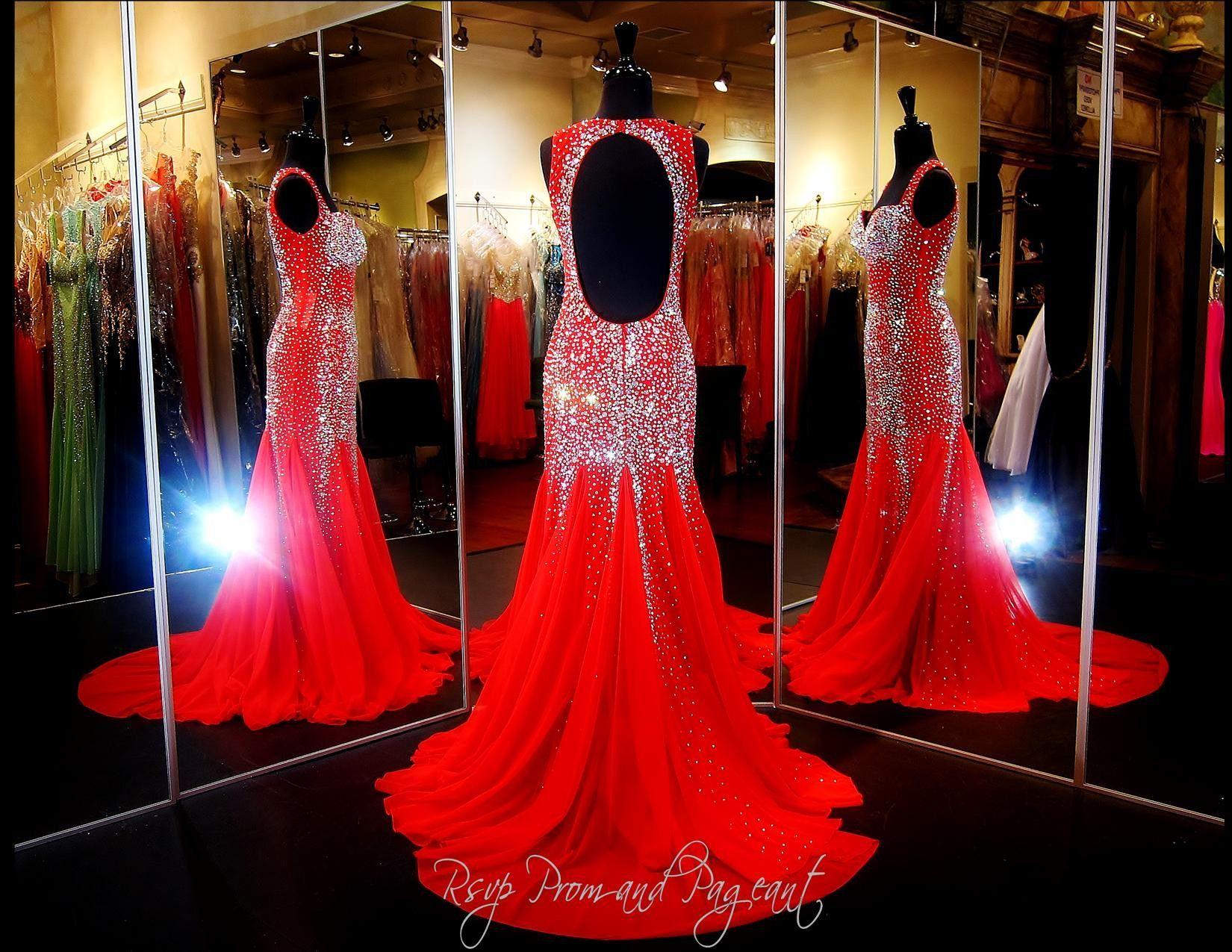 Red Beaded Mermaid-Sweetheart Neckline-Open Back-Halter-Train-115JC0532700518 at Rsvp Prom and Pageant, Atlanta, GA