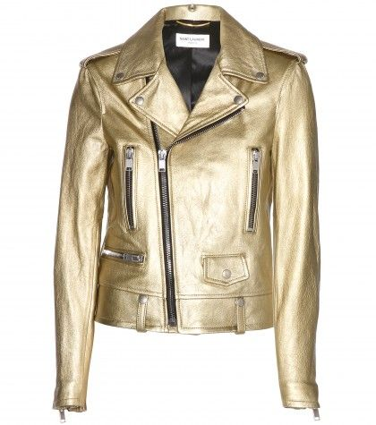 Saint Laurent Metallic leather biker jacket mytheresa
