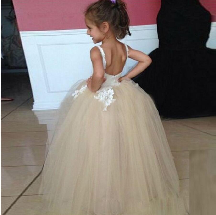 9a2d4c6cb Tulle Applique Spaghetti Straps Backless Flower Girl Dresses, Lovely Tutu  Dresses, FGS007 The dresses