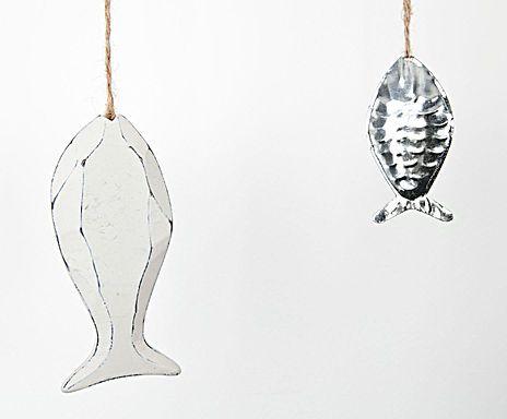 Guirlande poisson, blanc et argenté - L190