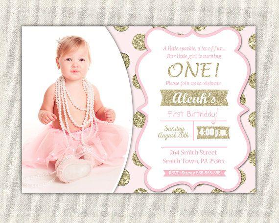Pink And Gold Birthday Invitation Polka Dots Glitter Princess First Invite 1st Baby Girl Di