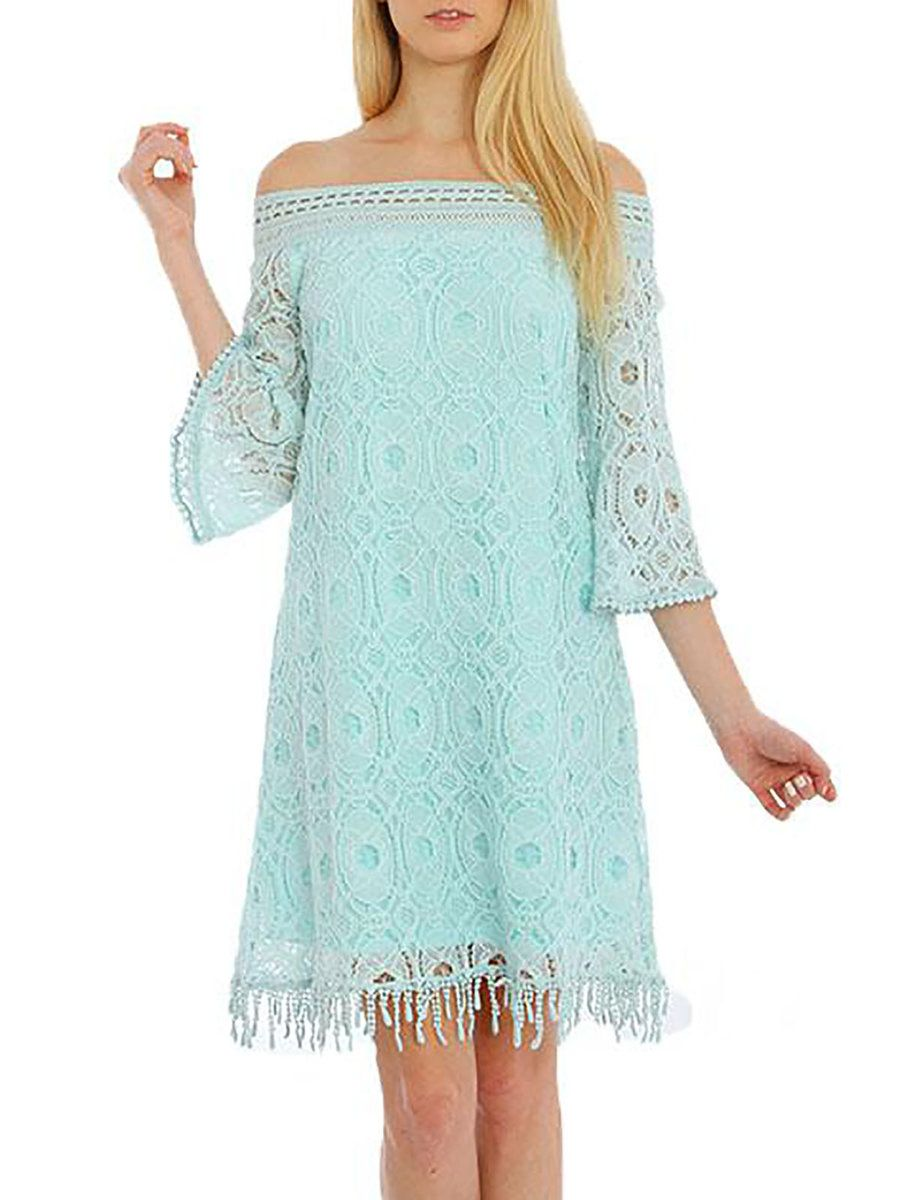 Light green lace dress  AdoreWe StyleWe Mini Dresses  Aquarius Light Green  Sleeve Off
