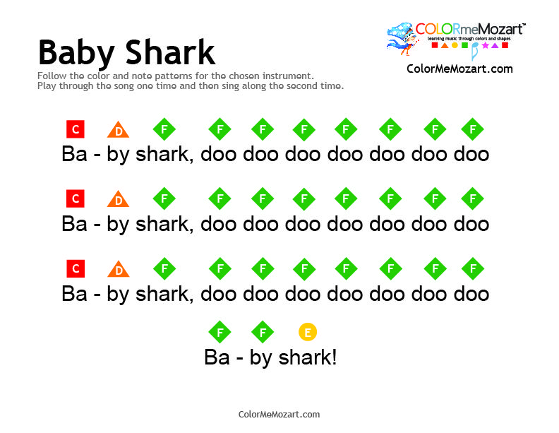 Baby Shark Piano And Xylophone Notes Easy To Follow Colorful