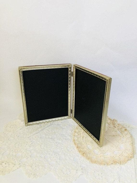 Vintage metal frame table top standing bifold hinged double 8 x 10 ...