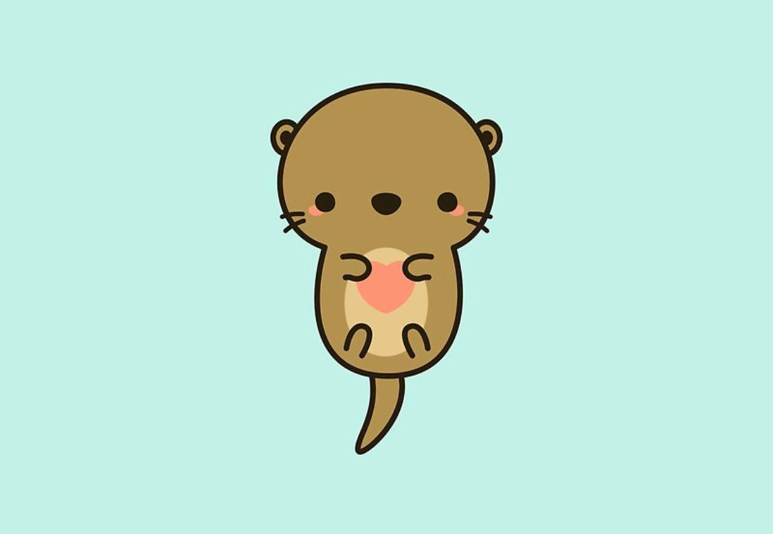 Dibujos Animados Animales Lindo Mar Fondo De Pantalla De: Ilustraciones, Nutria Bebe Y Nutrias