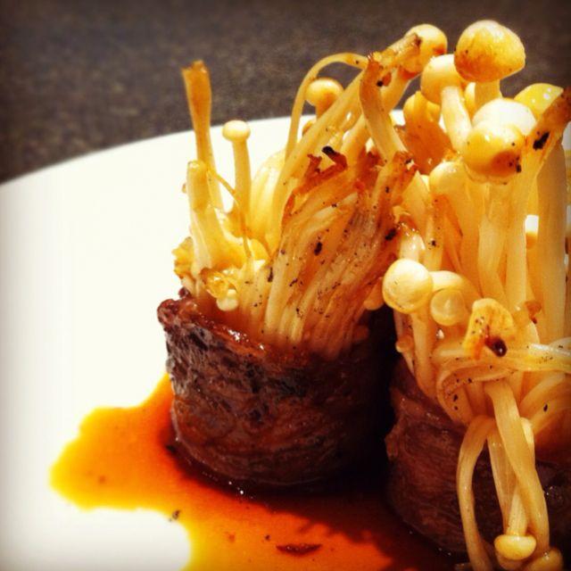 Wagyu beef roll w/golden mushrooms, superb!... #japanese #beef #wagyu #wagyubeef #mushrooms
