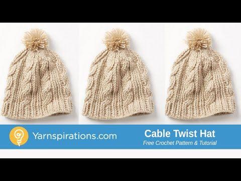 Crochet Cable Twist Hat Tutorial - YouTube | Mützen stricken ...