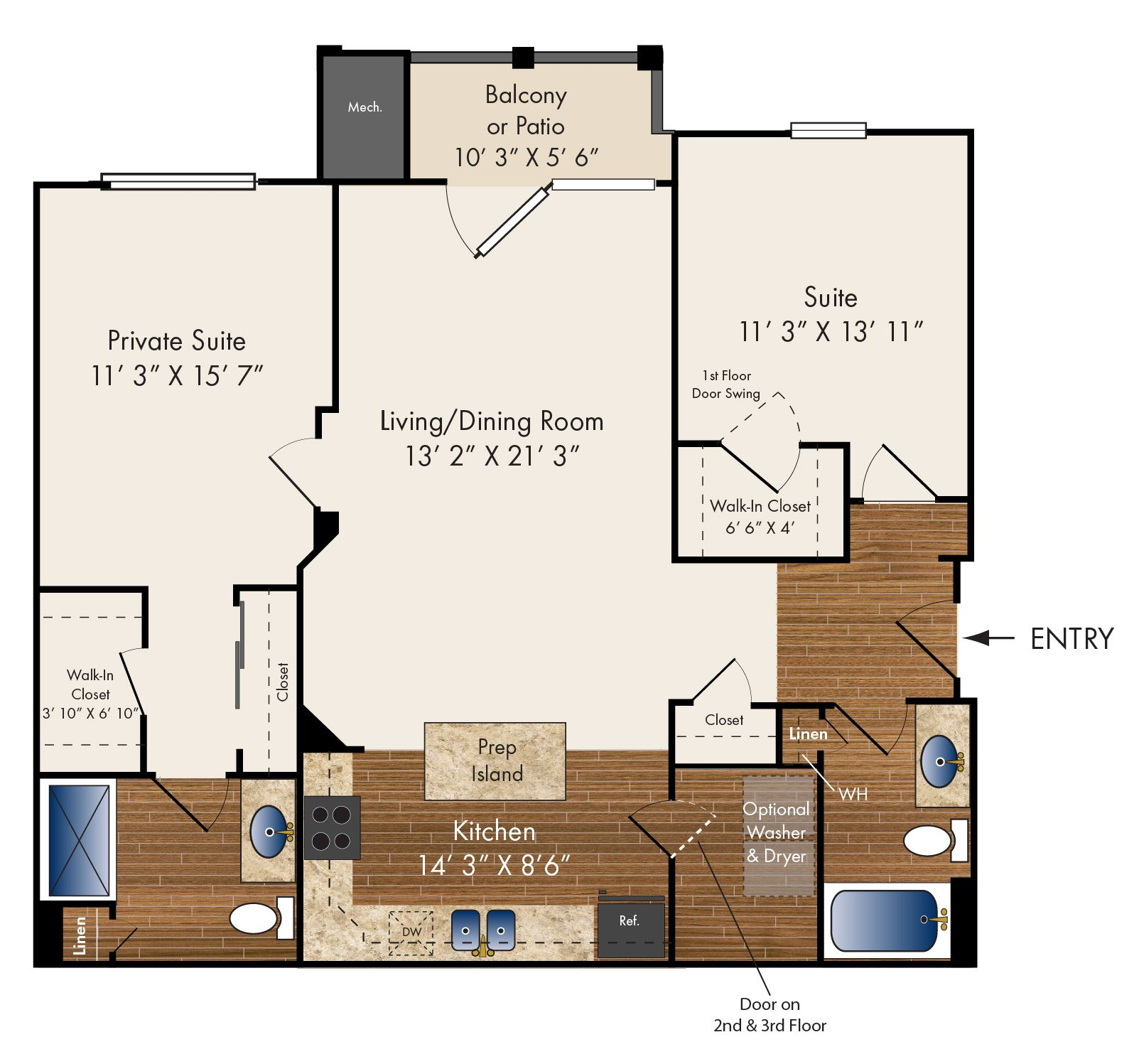 """""""Clare""""   Two Bedroom 1184 sq. ft."""