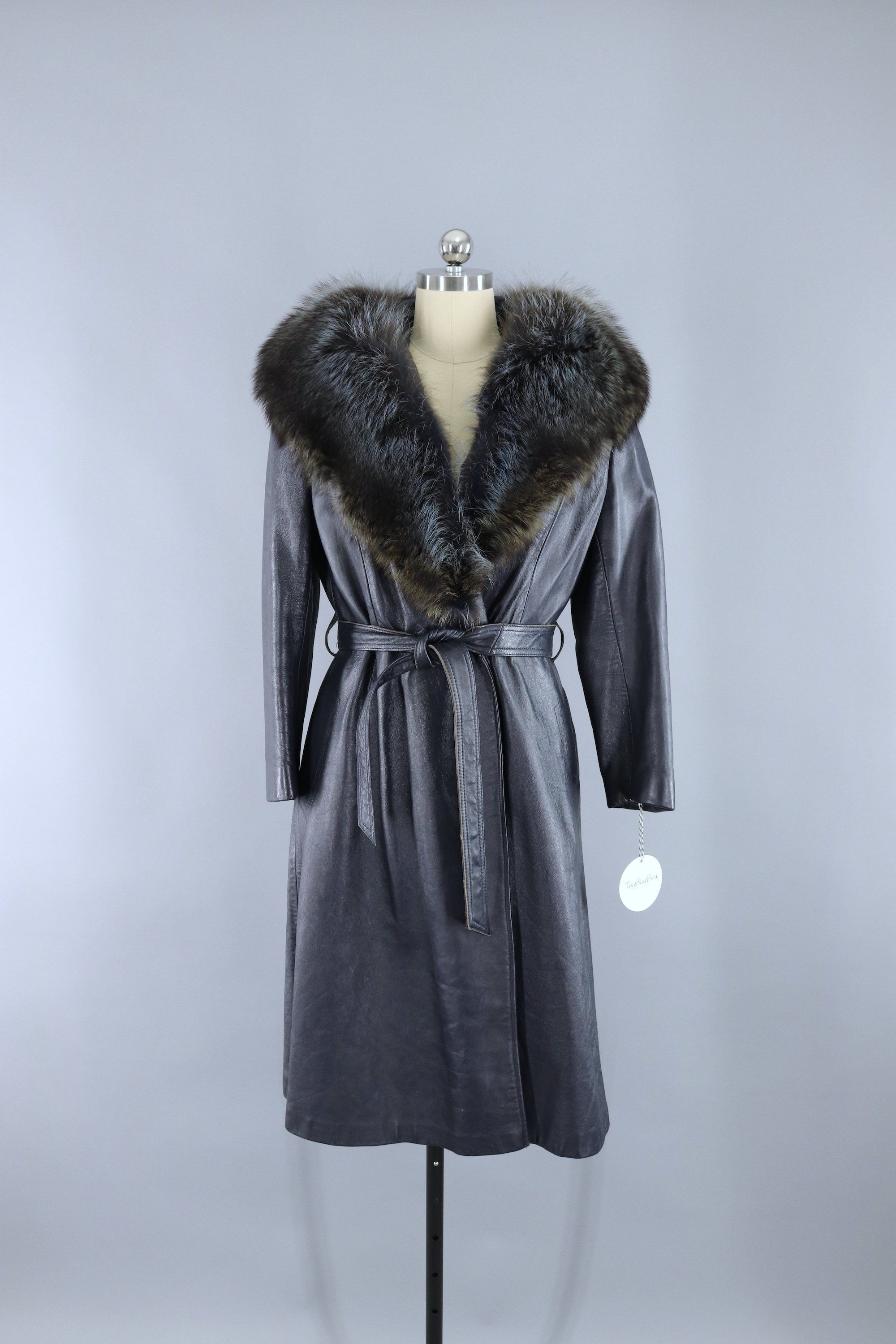 Vintage 1960s Charcoal Blue Grey Leather Coat with Fur
