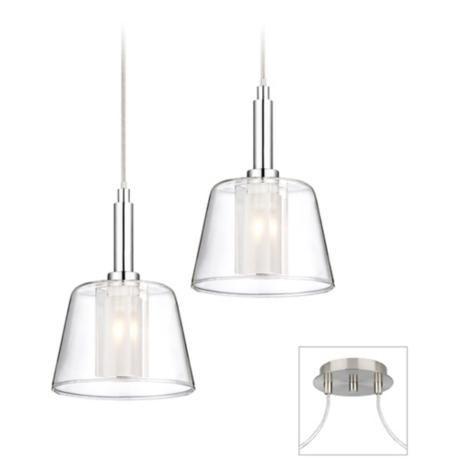 Double Glass Brushed Nickel Chrome 2 Light Multi Pendant 29a28 Lamps Plus Pendant Light Fixtures Swag Light Fixture Swag Chandelier
