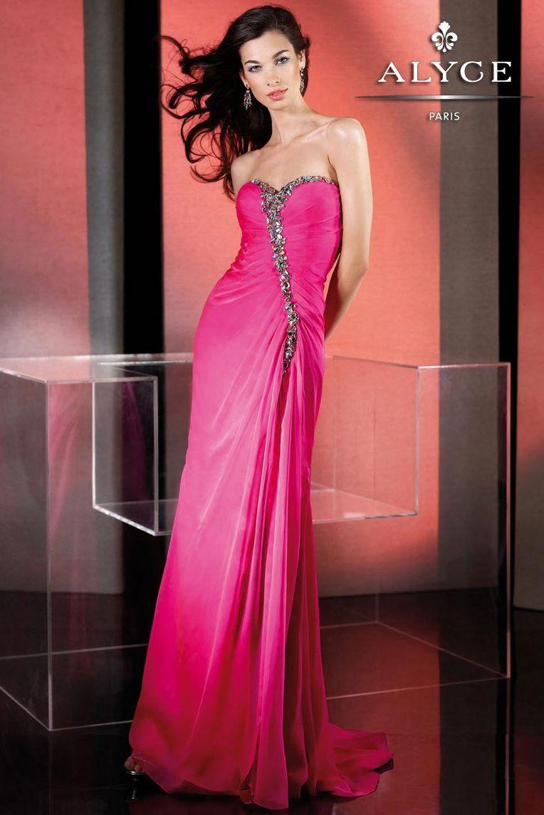 FUN Hot Pink Beaded Strapless Sweetheart Neckline Dress - Prom ...