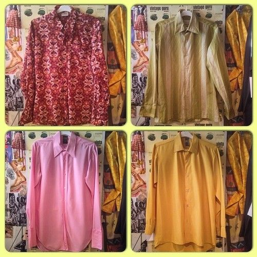 Variety of gents retro shirts in store! Brown: £18-Size L, Pink: £14-Size-M, Green: £14-Size M, Mustard: £5-Size M. #vintageguruscotland #menswear #shirts #seventies #sixties #retro #byresroad #kitsch #tumblr #twitter #pinterest #vintage #designer #mens