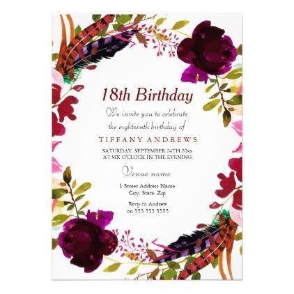 Burgundy Purple Floral 18th Birthday Party Invite birthday cards – Invite Birthday Card