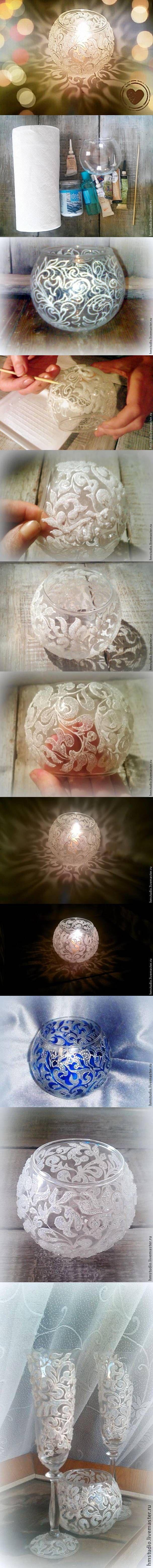 DIY Frosty Pattern Vase DIY Projects | UsefulDIY.com Follow Us on Facebook ==> http://www.facebook.com/UsefulDiy