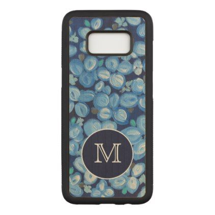 #monogrammed - #Blue and White Floral With Monogram Carved Samsung Galaxy S8 Case