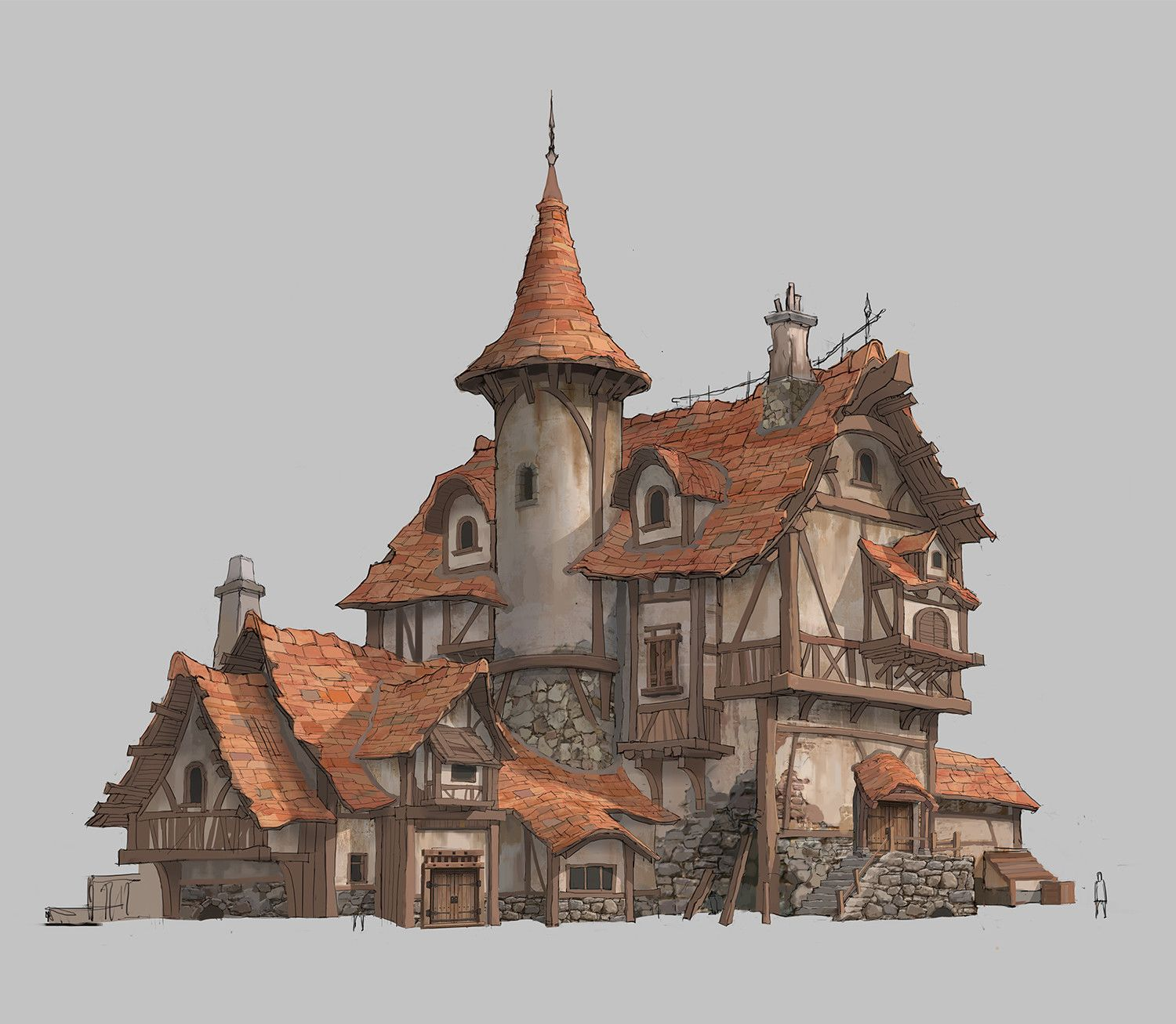 House Design Taewon Hwang Medieval Houses Architecture Drawing Concept Art