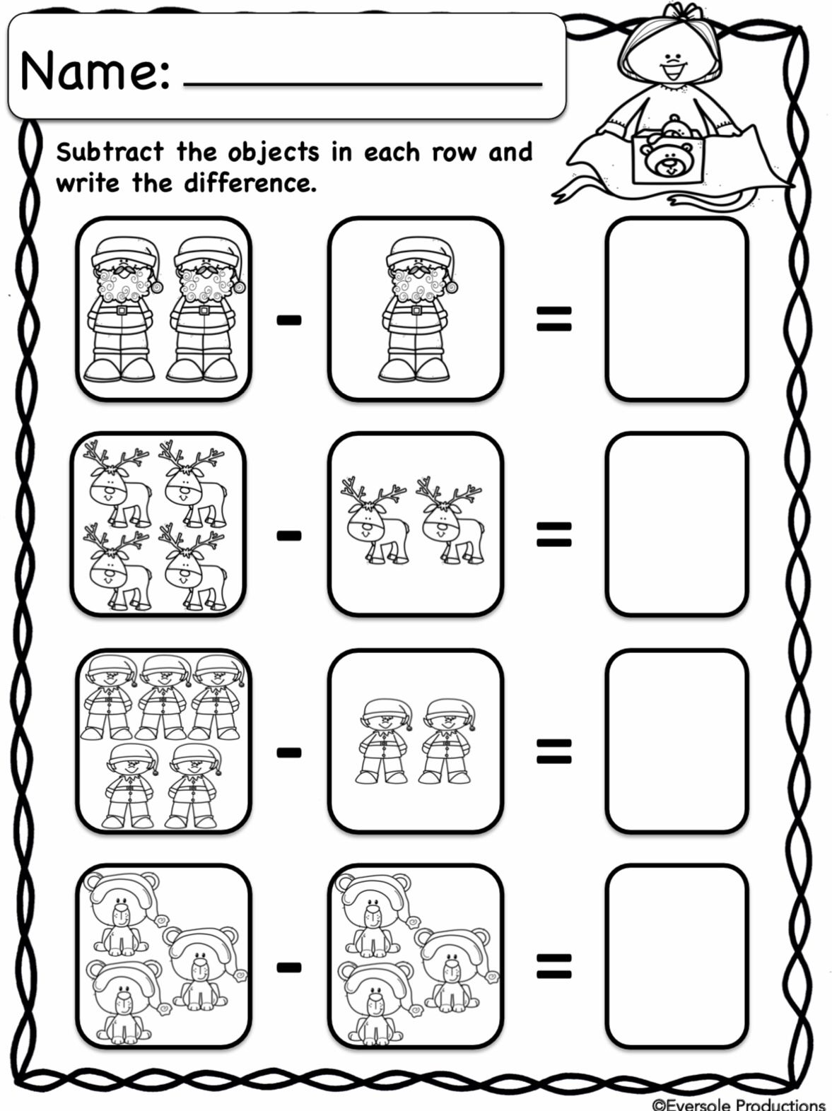 Christmas Math Adding And Subtracting Within 10 No Prep Kindergarten Worksheets Kindergarten Math Worksheets Addition Math Fact Worksheets Addition objects worksheets kindergarten