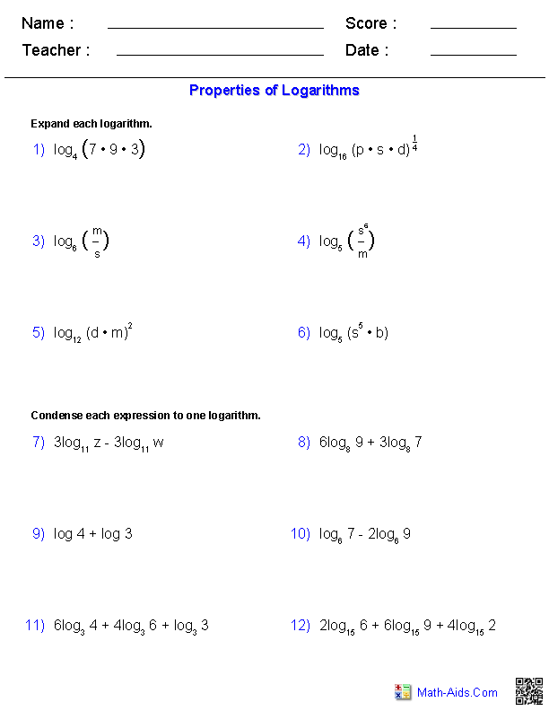 Properties Of Logarithms Worksheets Math Pinterest Worksheets
