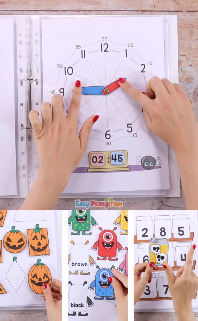 This Printable Halloween Quiet Book will have your kids practice a variety of basic skills – sort the jars full of spooky ingredients, match shapes with Jack'o'Lanterns, make a bat smile and more.