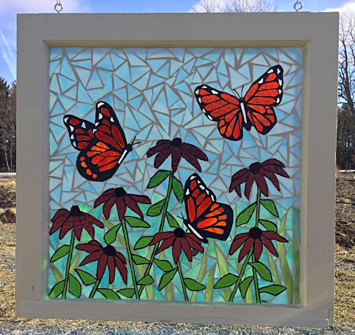 Monarch Butterfly Flower Garden Stained Glass Mosaic Panel - Monarch ...