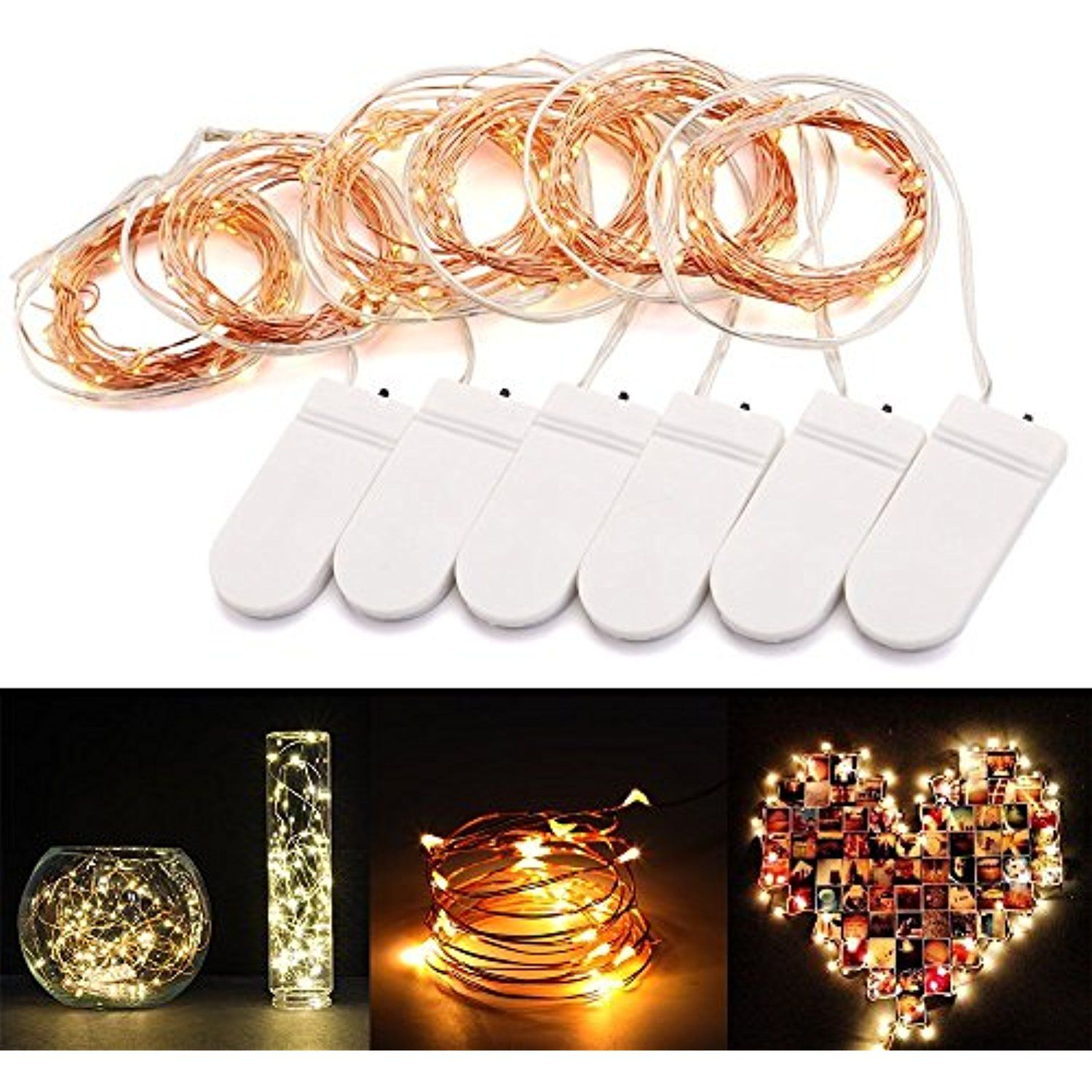 AGM 6pcs LED Fairy String Lights Warm White Battery Operated 6.6ft ...